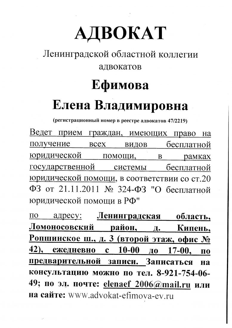 прием адвоката Ефимовой Е. В 001